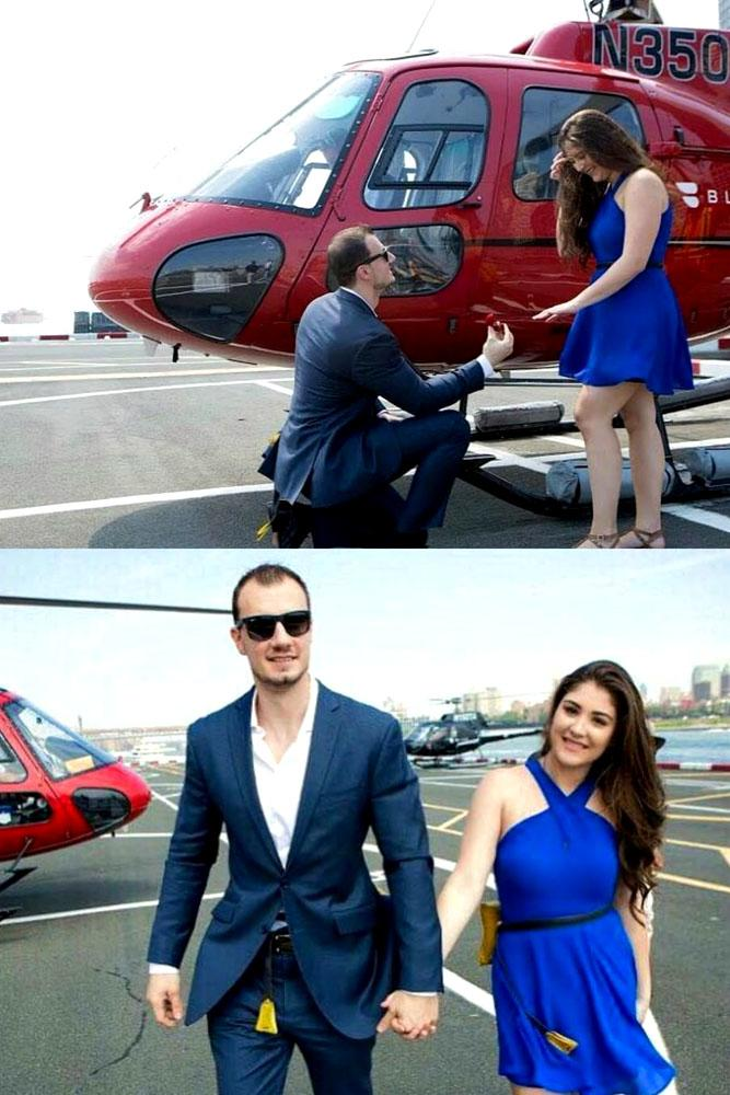 summer proposal ideas couple with helicopter