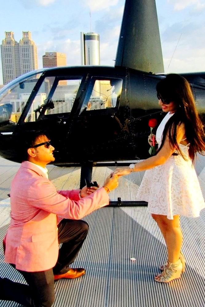 summer proposal ideas near the helicopter