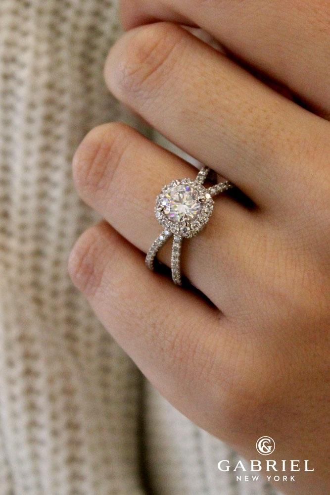 unique engagement rings white gold round split