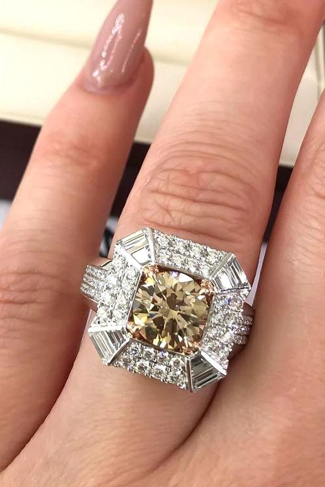 unique engagement rings center yellow diamond double halo white gold