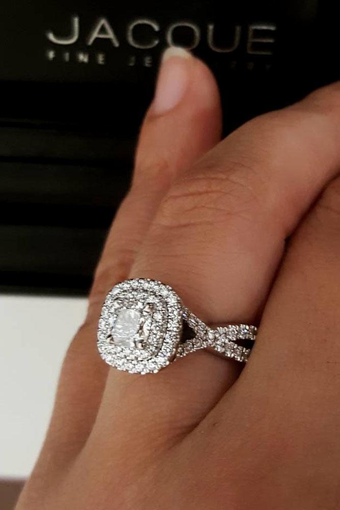 unique engagement rings princess cut double halo white gold