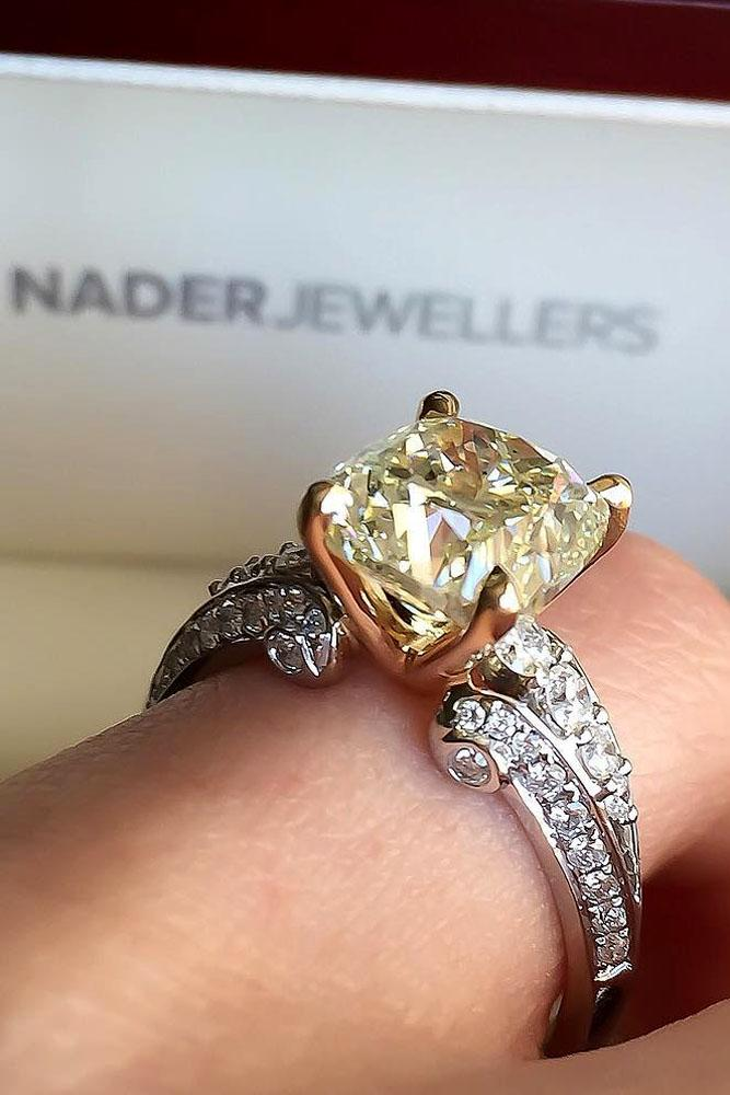 unique engagement rings round cut yellow diamond white and rose gold