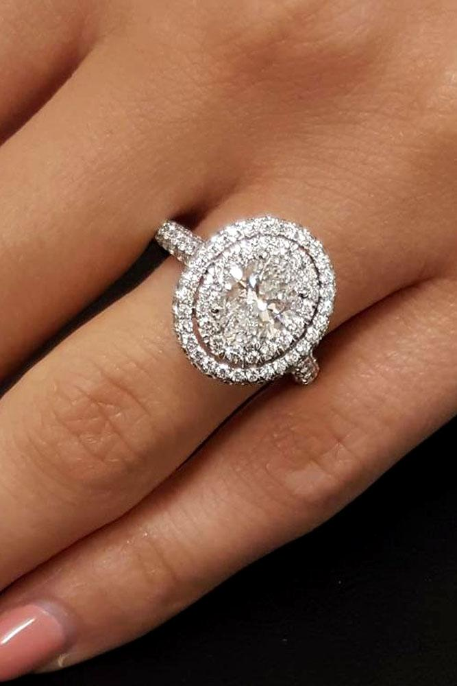 unique engagement rings round halo white gold pave band