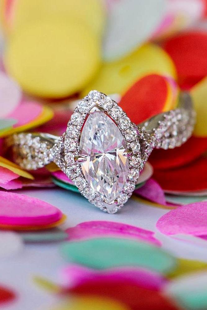 unique engagement rings white gold center diamond