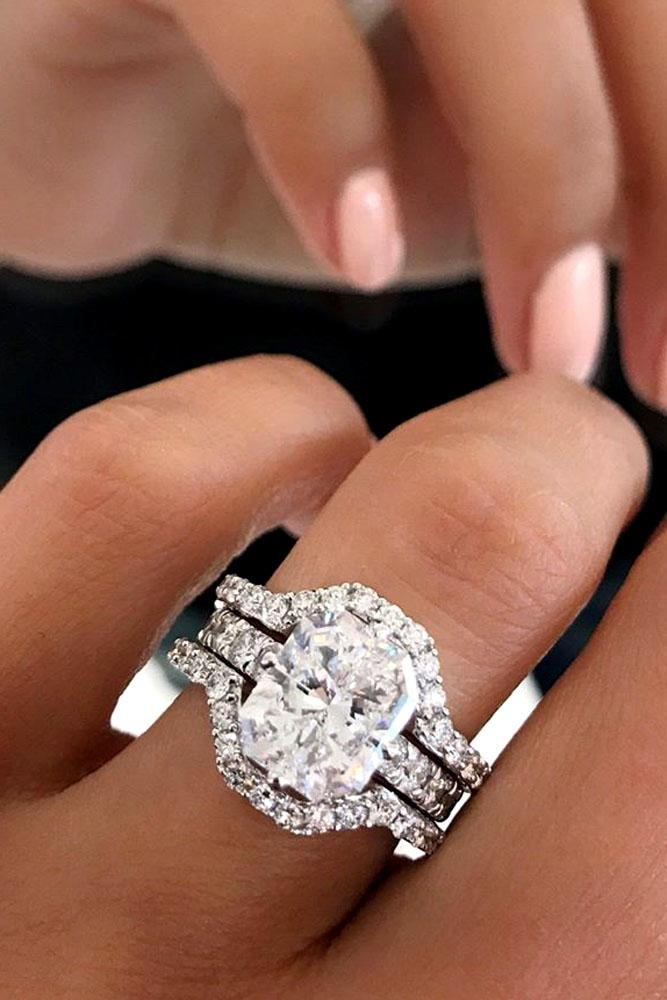 unique engagement rings white gold halo pave band