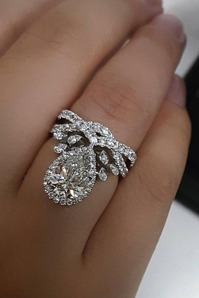 21 unique engagement rings that will make her happy oh so unique engagement rings white gold pear diamond pave band junglespirit Choice Image