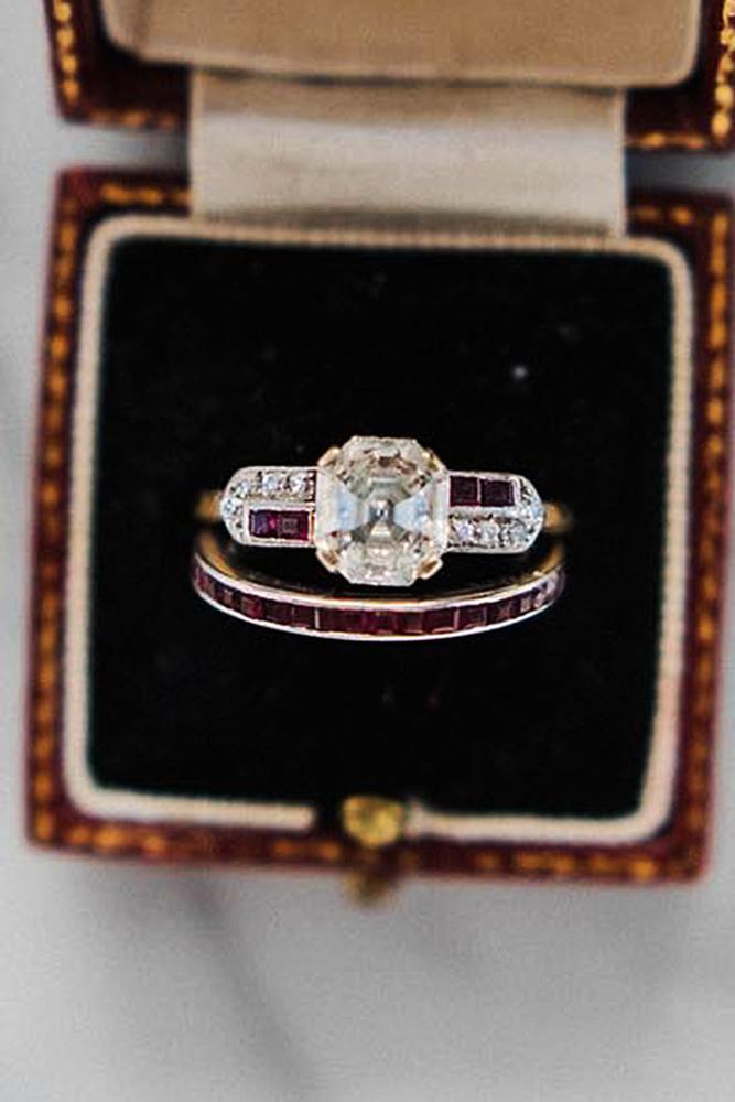 vintage engagement rings cushion cut wedding set diamond