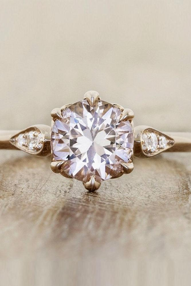 vintage engagement rings in rose gold with round diamond