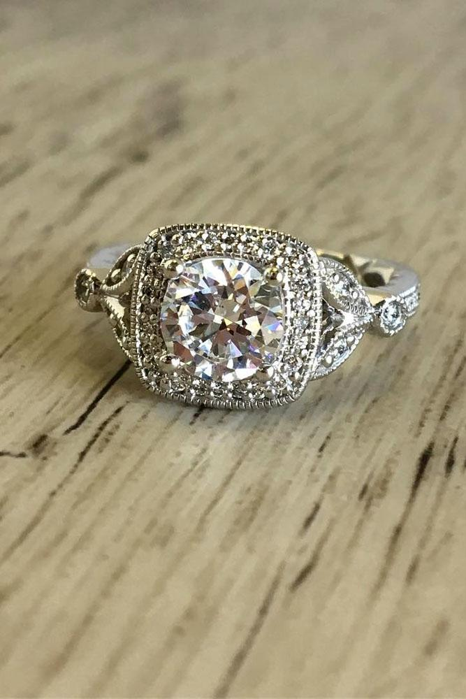 vintage engagement rings in white gold round cut center diamond halo