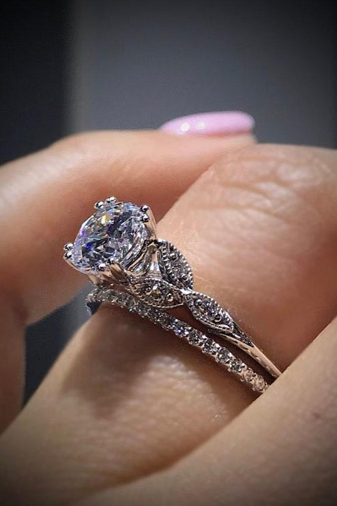 vintage engagement rings in white gold with round center stone
