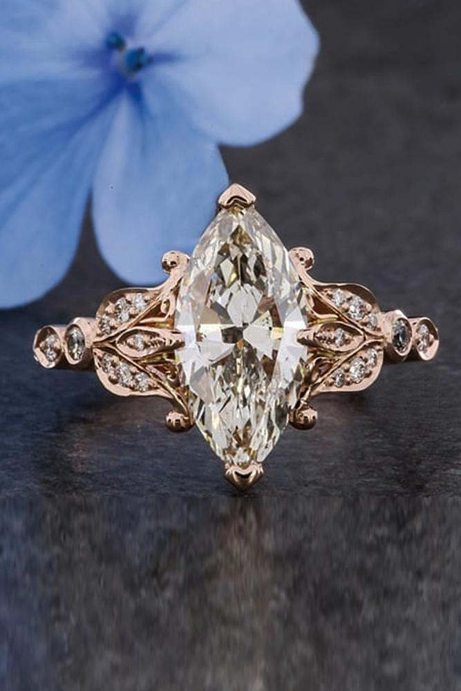 vintage engagement rings marquise cut diamond rose gold