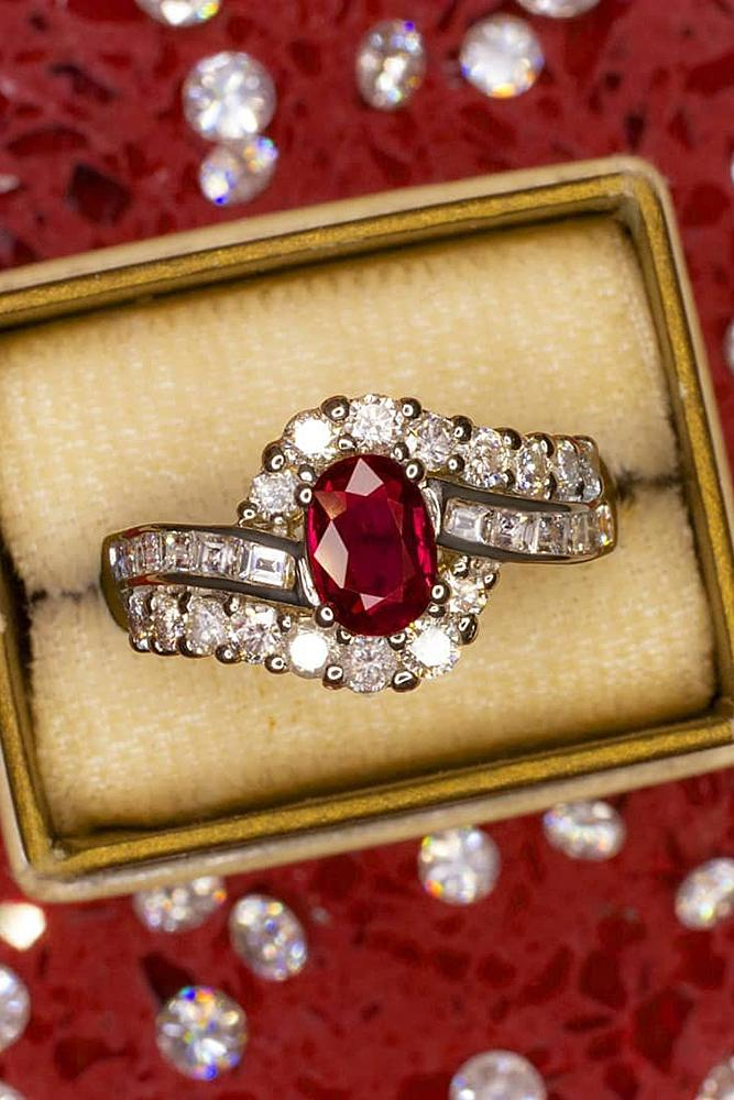 vintage engagement rings oval cut ruby split pave band