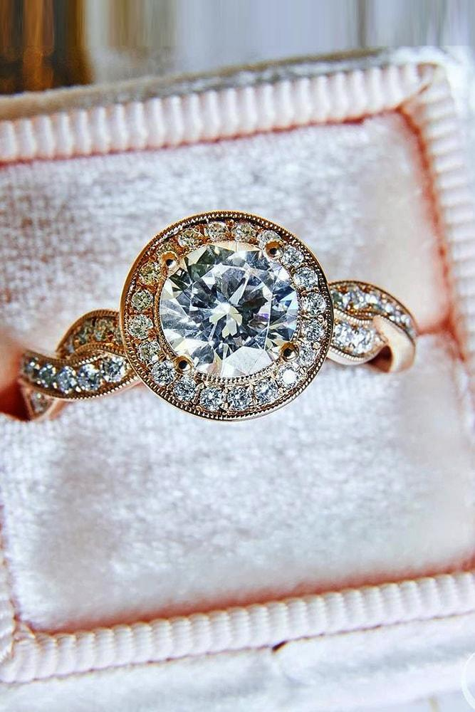 vintage engagement rings rose gold round cut diamond halo vintage ring twisted pave band