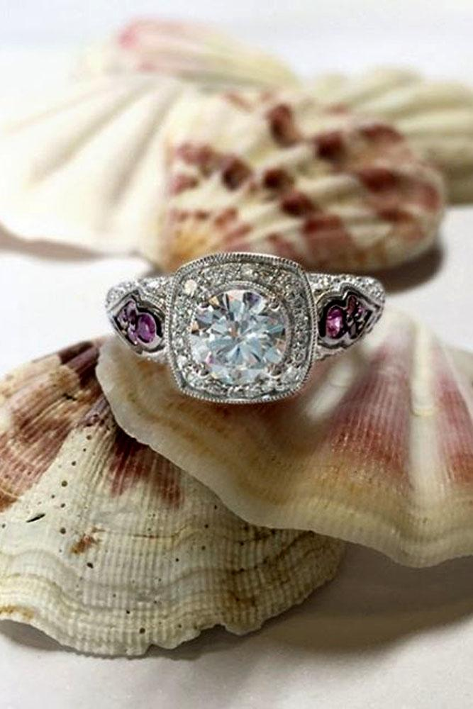 vintage engagement rings round cut center stone in white gold with gemstones