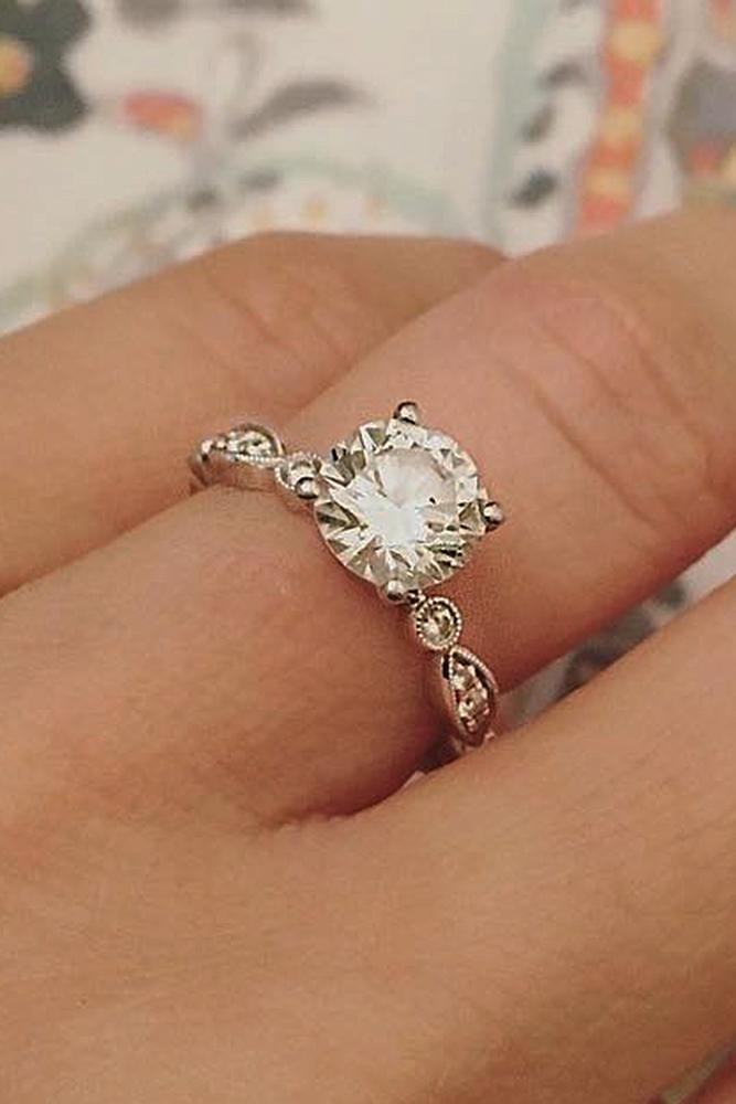 vintage engagement rings round cut diamond rose gold