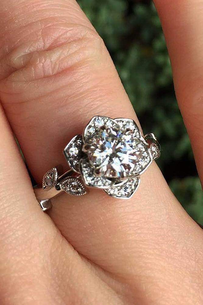 vintage engagement rings round cut floral halo