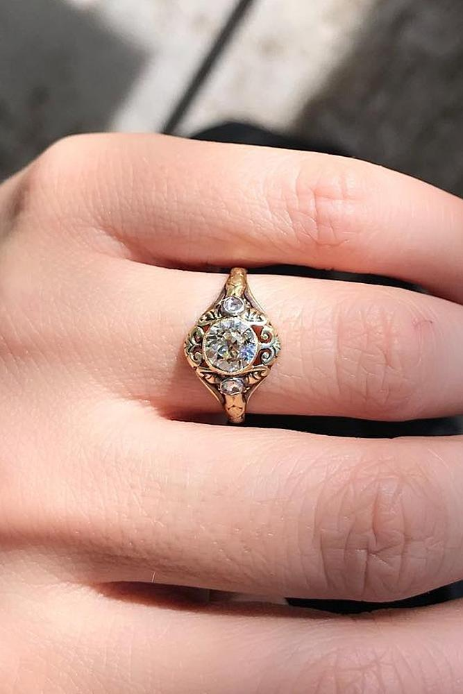 vintage engagement rings round cut gold halo