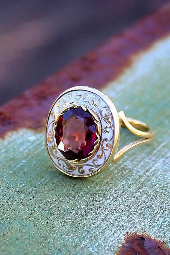 vintage engagement rings ruby round cut halo yellow gold