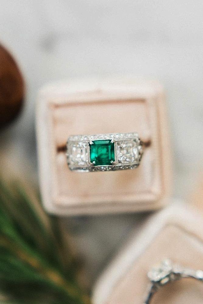 vintage engagement rings three stones white gold princess cut