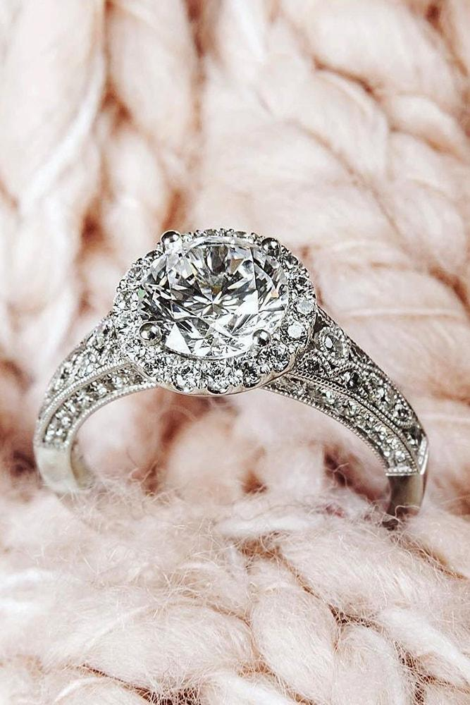 vintage engagement rings white gold round cut diamond halo vintage ring unique pave band