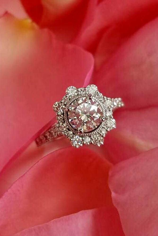 vintage engagement rings with round diamond halo white gold