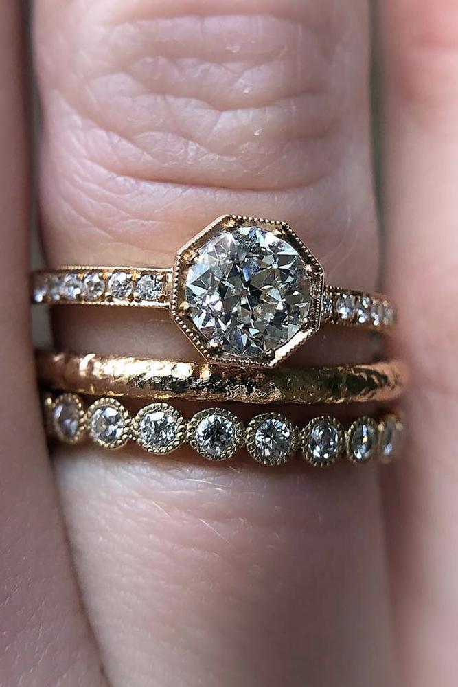 wedding ring sets elegant diamond rings pave band gold