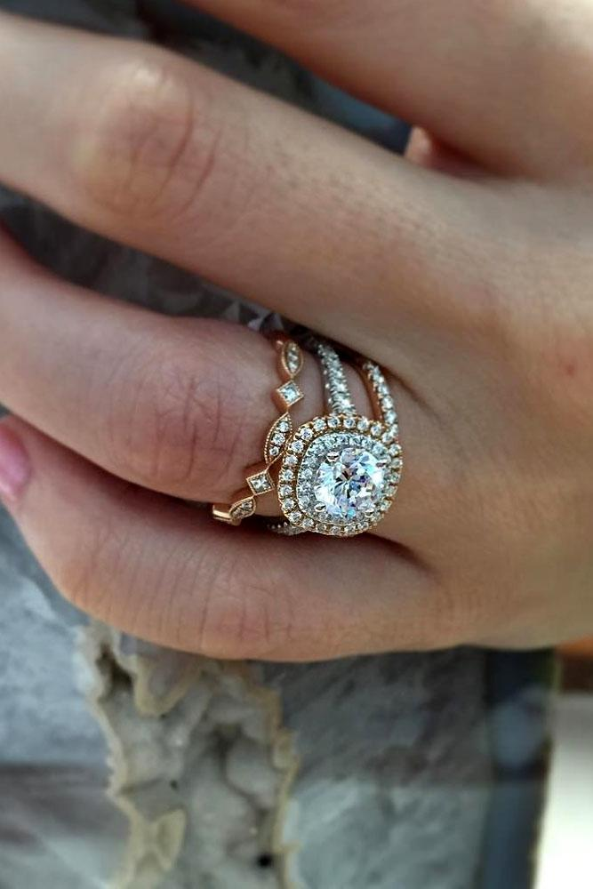wedding ring sets halo round cut diamond pave band