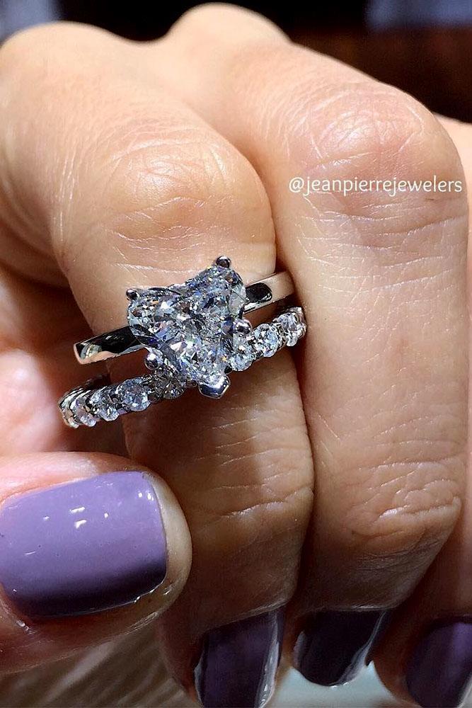 wedding ring sets heart diamond white gold pave band