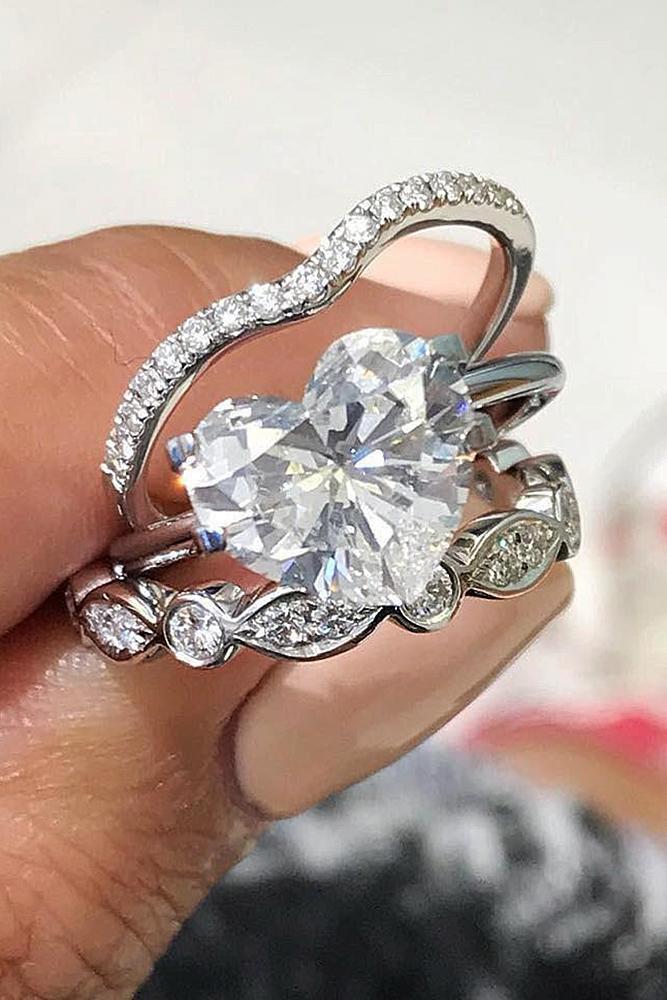 wedding ring sets heart white gold diamond pave band