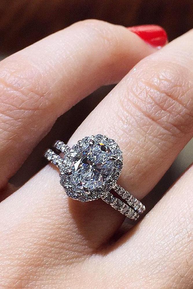 wedding ring sets oval center diamond halo white gold
