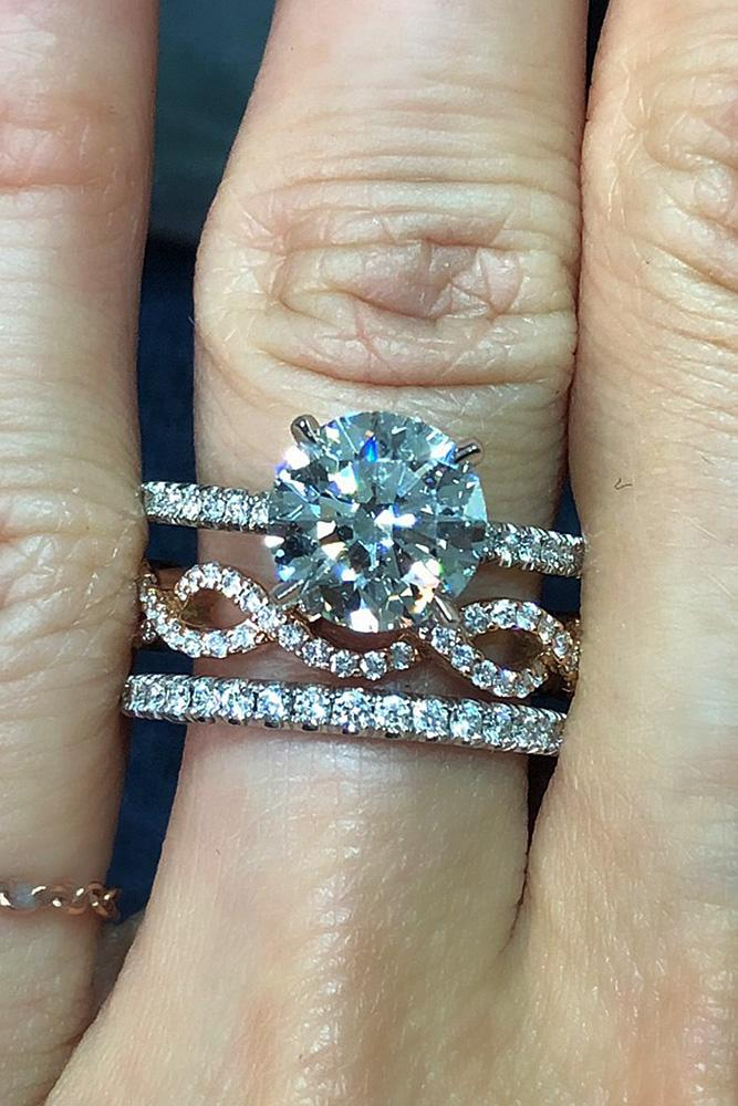 wedding ring sets pave band round cut solitaire diamond twist