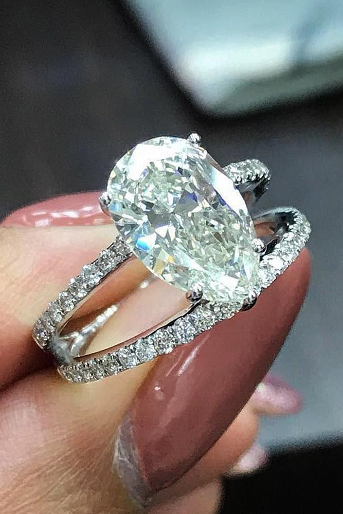wedding ring sets pear cut solitaire pave band white gold
