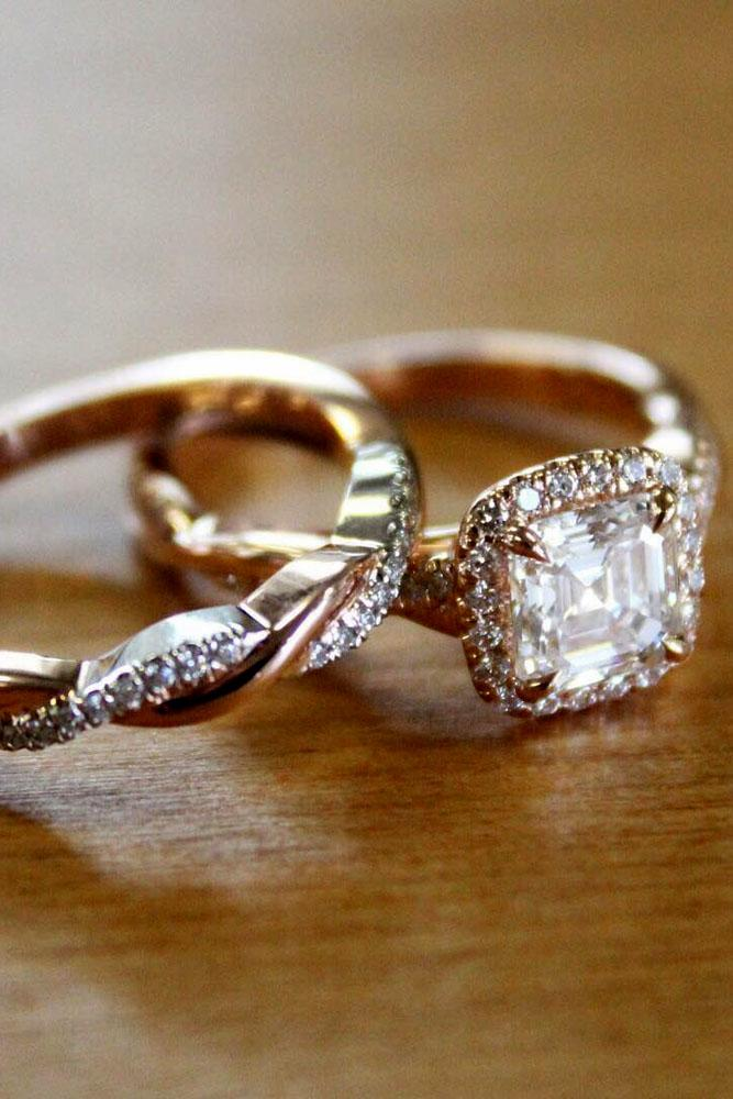 wedding ring sets rose gold halo diamond