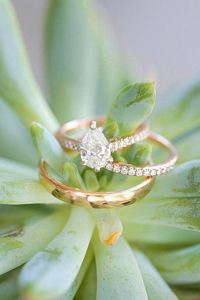 wedding ring sets rose gold pear cut pave band
