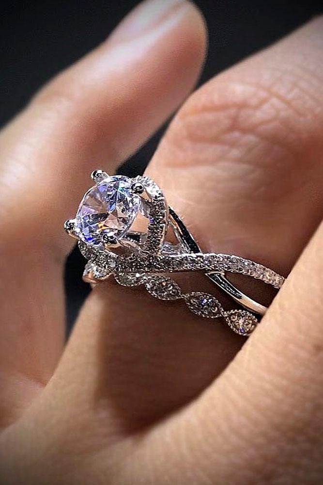 Wedding Ring Sets Round Center Stone White Gold