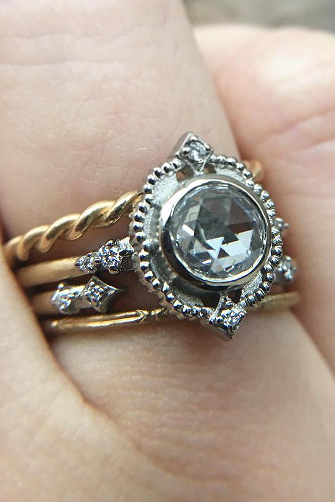 wedding ring sets round cut diamond vintage setting