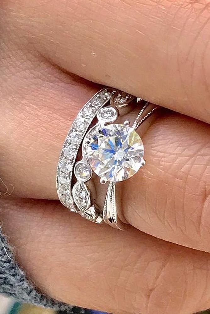 wedding ring sets round cut diamond white gold