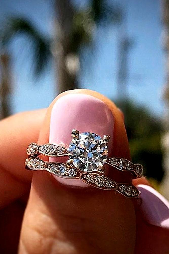 wedding ring sets round cut rose gold pave band