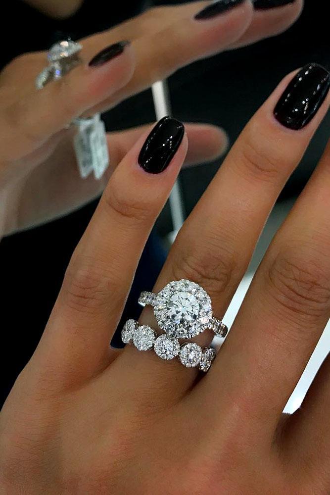 wedding ring sets round halo diamond pave band