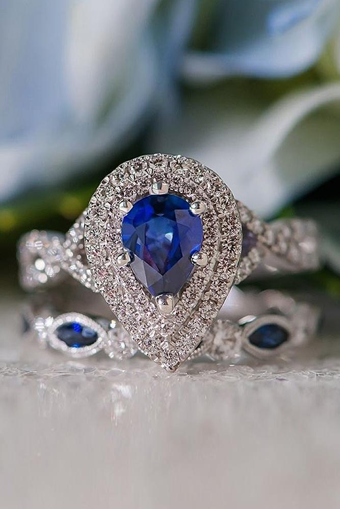 wedding ring sets sapphire double halo diamonds pave band