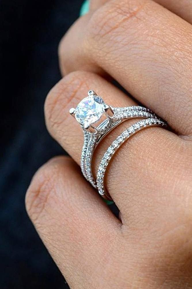 wedding ring sets solitaire round cut white gold