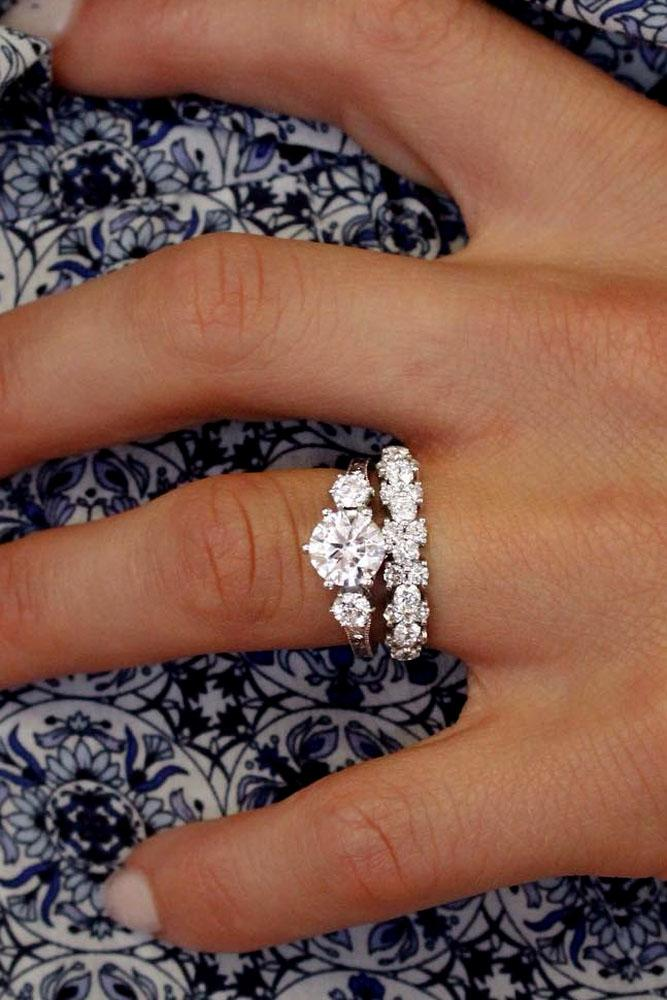 wedding ring sets three stone diamond