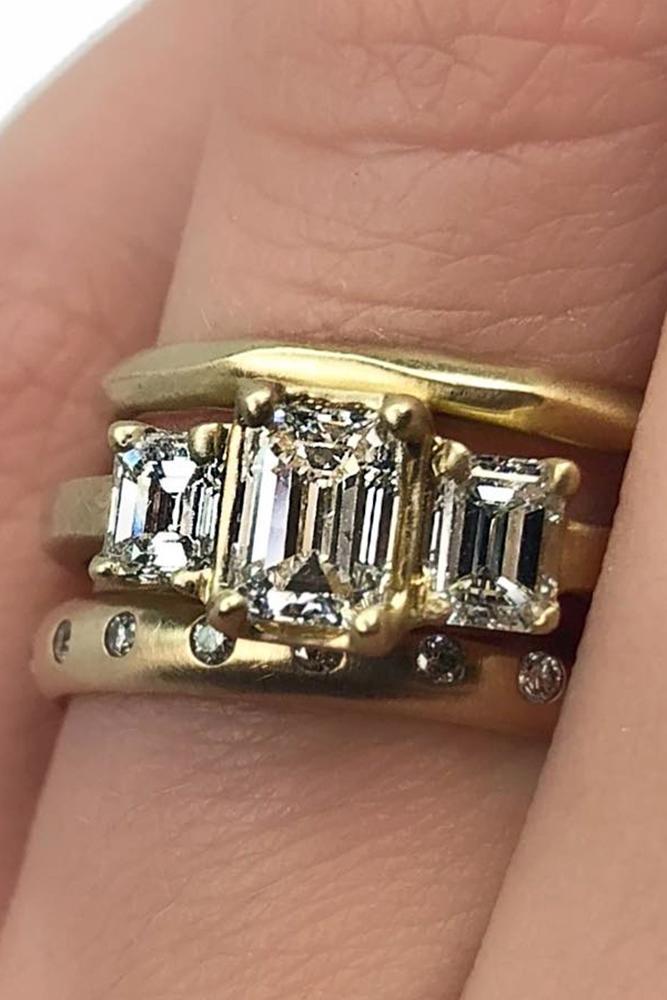 wedding ring sets three stones emerald cut yellow gold