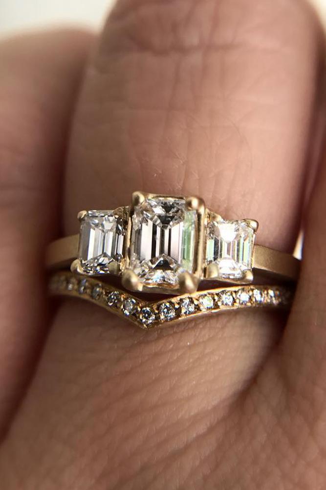 wedding ring sets three stones rose gold emerald cut diamond