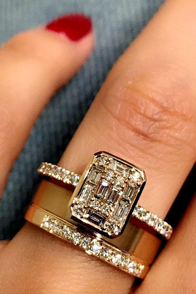 Wedding Ring Sets Unique Emerald Cut Diamond In Rose Gold