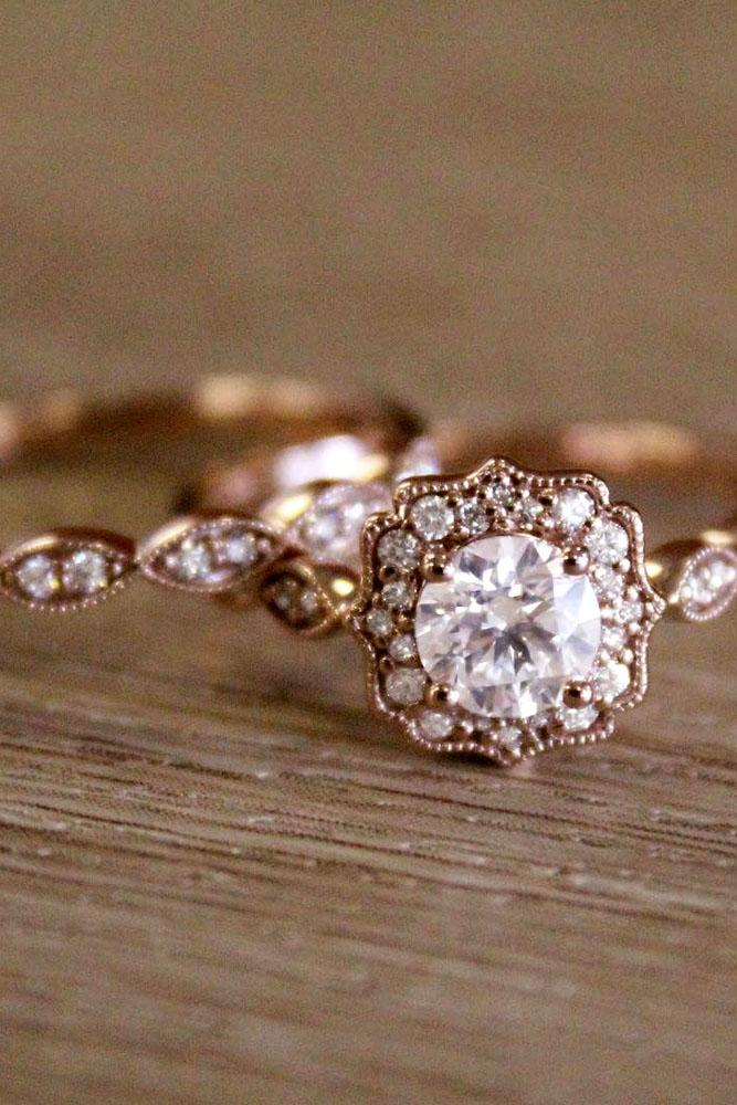 wedding ring sets vintage halo round cut