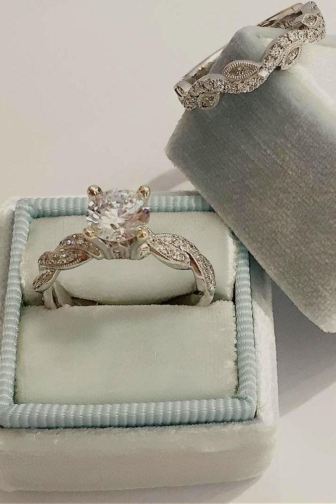wedding ring sets vintage white gold round cut center stone