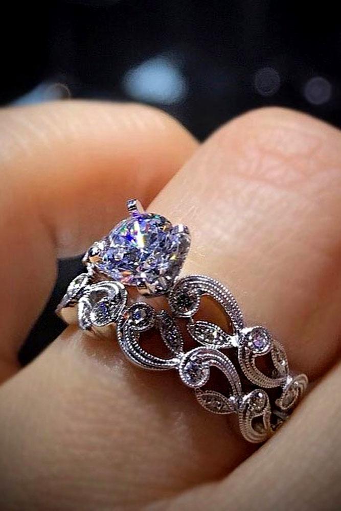 wedding ring sets vintage white gold round diamond