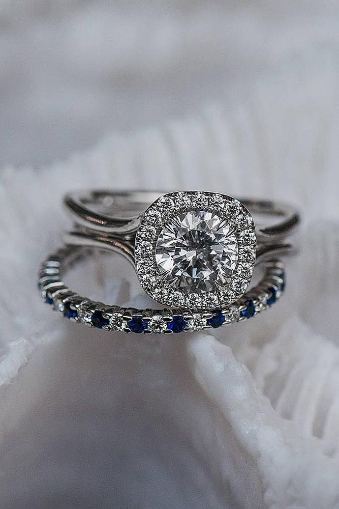 wedding ring sets white gold diamond pave band round cut