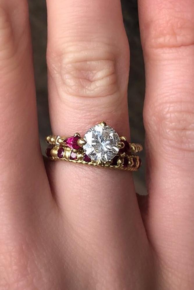 wedding ring sets yellow gold round cut diamond ruby